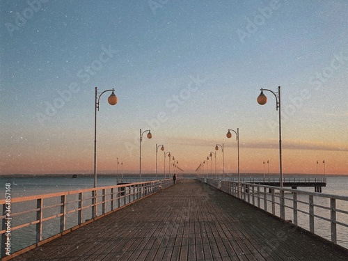 Fototapety, obrazy: Pier Over Sea Against Sky During Sunset