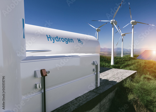 Fototapeta Hydrogen renewable energy production - hydrogen gas for clean electricity solar and windturbine facility. 3d rendering. obraz