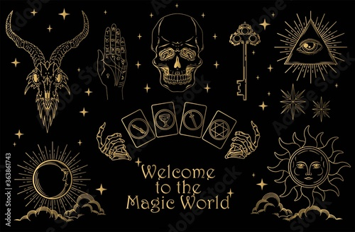 Fotografia Set of magic symbols and esoteric signs included skull, occult, mystical and spiritual symbols in gold colour on black background