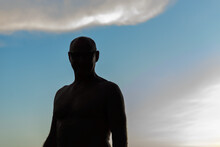 Silhouette Of Mature Shirtless...