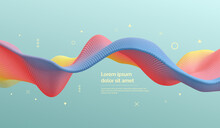 3D Wavy Background, Array With Dynamic Emitted Particles