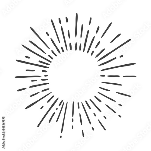 Fototapeta sun burst doodle isolated on white obraz na płótnie