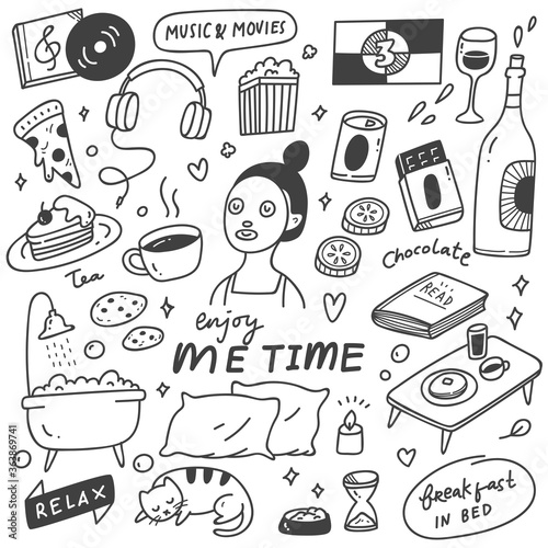 Fototapeta Me time concept doodle illustration obraz