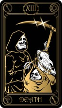 Death. The 13th Card Of Major Arcana Black And Gold Tarot Cards. Vector Hand Drawn Illustration With Skulls, Occult, Mystical And Esoteric Symbols.