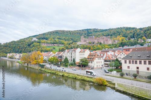 Fototapeta Scenic View Of River By Buildings Against Sky obraz na płótnie