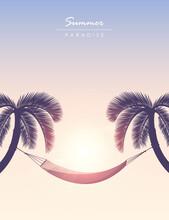 Hammock Between Palm Trees Summer Holiday At Sunset Vector Illustration EPS10