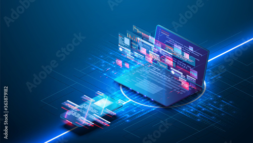 Futuristic web  application development, coding and programming responsive Fotobehang
