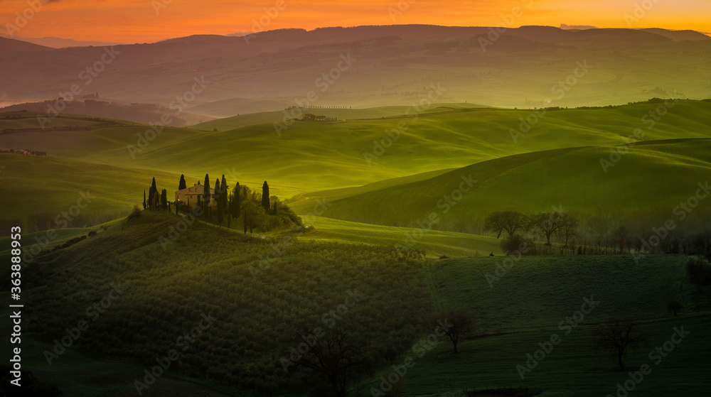 Fototapeta Scenic View Of Agricultural Field Against Sky During Sunset