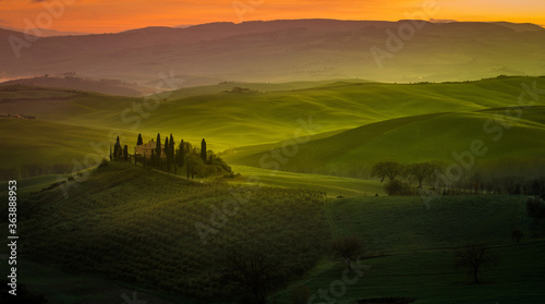 Fototapeta Scenic View Of Agricultural Field Against Sky During Sunset obraz