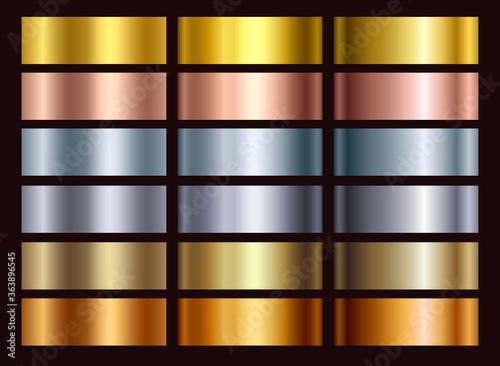 Fotografering Gold rose, silver, bronze, copper and golden foil texture gradation background set