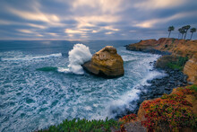 High Angle View Of Wave Splash...