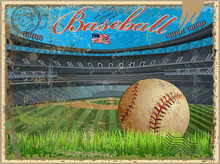 Baseball Vintage Retro Postcard Baseball Stadium
