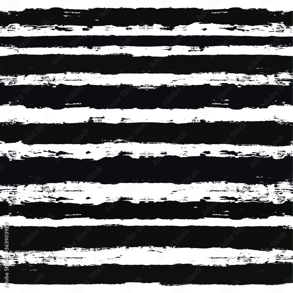 Fototapeta Stripes pattern, grunge stripe seamless background, black and white Hand drawn brush strokes. vector grungy stripes, paintbrush line backdrop