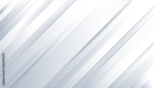 Fotografie, Tablou Abstract technology light grey silver and striped rectangle oblique overlay white gradients on background