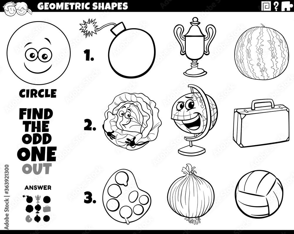 Fototapeta circle shape objects educational task coloring book