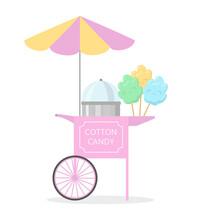 Cartoon Cotton Candy Cart, Street Food.