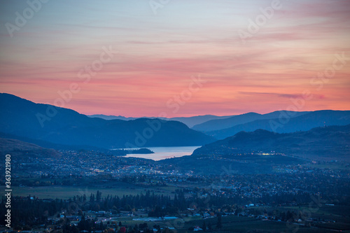 Fotografie, Obraz Scenic View Of Mountains Against Sky During Sunset