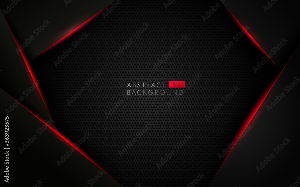 Fototapeta Abstract template black background with triangles pattern and red lighting lines. Sports technology modern design concept. Vector illustration