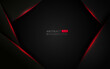 Abstract template black background with triangles pattern and red lighting lines. Sports technology modern design concept. Vector illustration