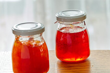 Close-up Of Homemade Jam In Glass Jar On Table