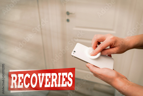 Conceptual hand writing showing Recoveries Canvas Print