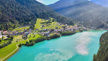Aerial View Of Auronzo Lake An...