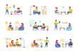 Freelance work scenes bundle with people characters. Freelancers working and communicate at comfortable workspace situations. Distance working, self-employed occupation flat vector illustration.