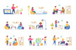 Education scenes bundle with people characters. Distance learning and self education, students study at home, read book in library situations. Online education platform flat vector illustration.