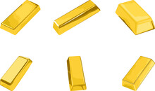 Set Of Simple Vector Design Of Gold Stems In Gold