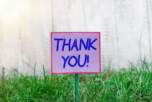 Text sign showing Thank You Canvas Print