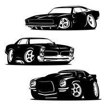 Muscle Cars Cartoons Silhouett...