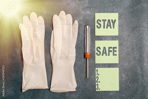 Valokuva Writing note showing Stay Safe