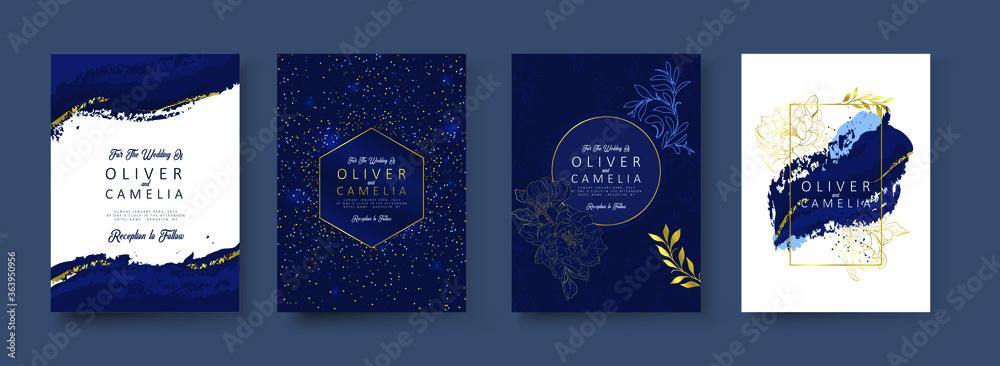 Fototapeta Indigo Blue Set Card Wedding Invitation, floral invite thank you, rsvp modern card Design in Golden flower with leaf greenery branches decorative Vector elegant rustic template