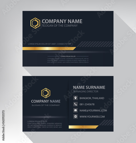 Fotomural Business card in modern luxury style black and gold color