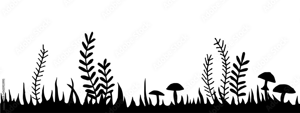 Fototapeta  vector illustration, seamless border, fairy forest frame. black and white drawing grass, bushes, mushrooms. fabulous, magical forest, design for halloween.