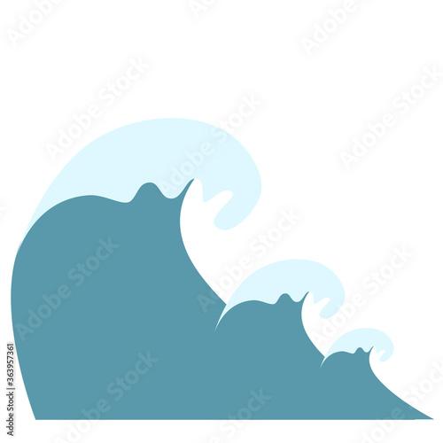 Wave symbols set vector isolated on white background, Fototapet