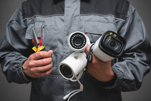 CCTV Installation Wizard Concept. Service For Installing CCTV Cameras.