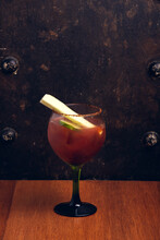 Bloody Mary On Rustic Backgrou...