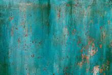 Turquoise Cracked Peeling Rusty Background.