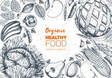 Healthy Food Frame Vector Illu...