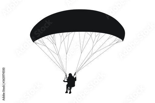 Photo Silhouette of parachutist on parachute high in the sky for skydiving and paragli