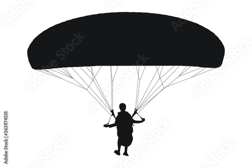 Photo Vector silhouette of parachutist skydiving on parachute from the sky, illustrati