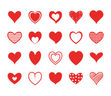Hearts Flat Style Icon Set Des...