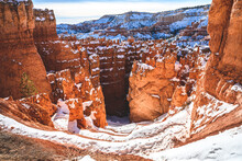 Wall Street Covered By Snow At Bryce Canyon National Park.