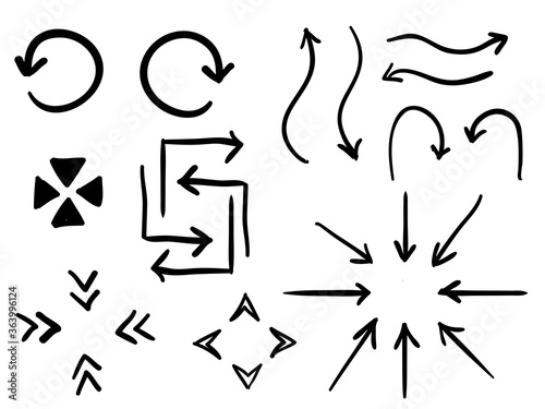 isolated childish sketching hand drawn arrows symbol direction set vector design Wallpaper Mural