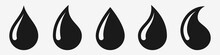 Water Drop Vector Icon Set. Bl...