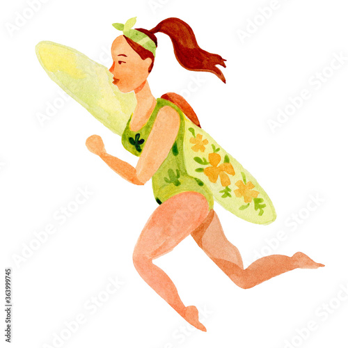 Girl surfs cartoon character watercolor by hand Fototapete