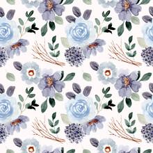 Blue Green Flower Watercolor Seamless Pattern