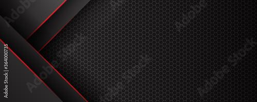 Fototapeta Abstract black red grey metallic carbon neutral overlap red light hexagon mesh design modern luxury futuristic technology background vector illustration. obraz