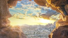 Sunset Through Cave In Califor...